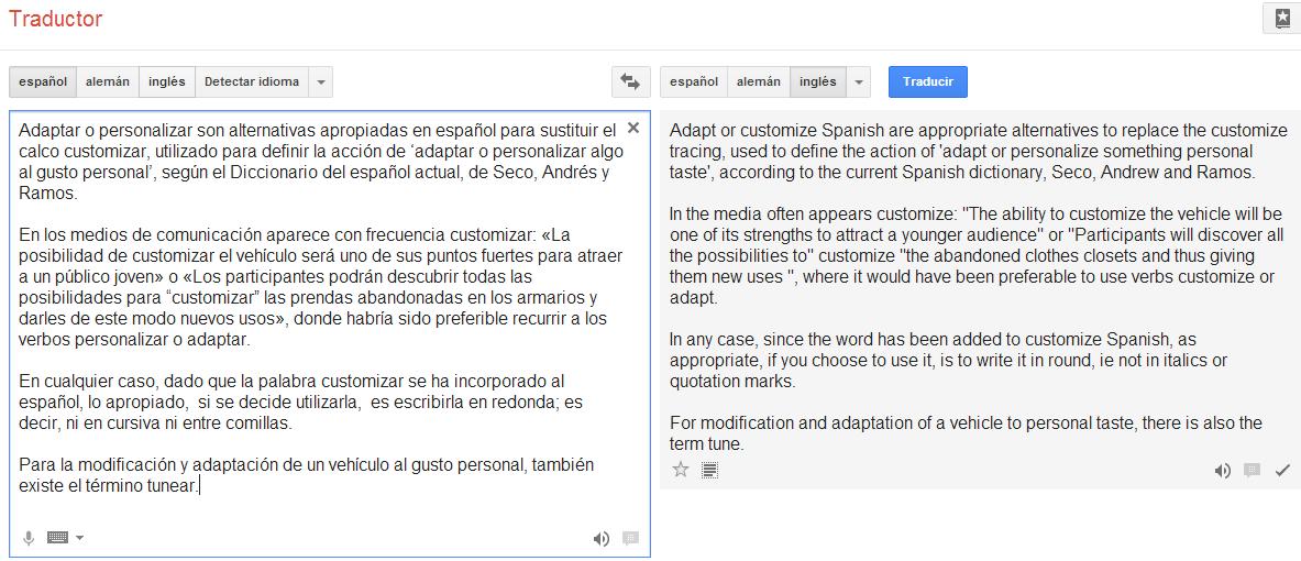 Ejemplo de calidad de traducción automática